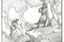 Bocetos de Michael Whelan explorando la primera escena desde varios ángulos.